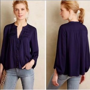 Anthropologie Maeve navy blue boho peasant top 12